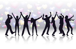 Dancing women and men with background Stock Photography