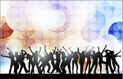 Dancing women and men with background. Color Stock Photography