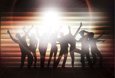 Dancing women and men with background Royalty Free Stock Image