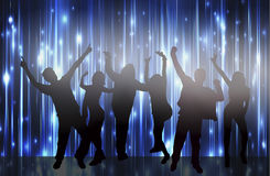 Dancing women and men with background Royalty Free Stock Images