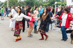 Dancing women at the Nestinar Games in Bulgaria. Bulgaria is the only country in the world where barefoot people dance on red-hot charcoal. The village of Stock Image