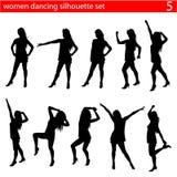 Dancing women silhouette set Stock Photos