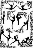 Dancing women silhouettes Stock Photos