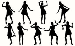 Dancing Women Silhouettes. Royalty Free Stock Photography
