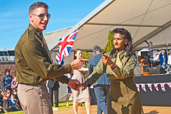 Dancing in World War 2. Dancing to a swing band in World War 2; a re-enactment of ' Through the Centuries ' organized by Historic Scotland at Fort George on 11 Royalty Free Stock Image