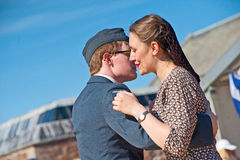 Dancing in World War 2. Dancing close together to a swing band in World War 2; a re-enactment entitled  ' Through the Centuries ' organized by Historic Scotland Royalty Free Stock Photography