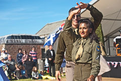 Dancing in World War 2. Dancing to a swing band in World War 2; a re-enactment of ' Through the Centuries ' organized by Historic Scotland at Fort George on 11 Stock Photography