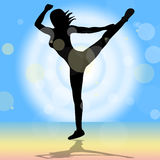 Dancing Yoga Shows Enlightenment Meditated And Calm Royalty Free Stock Photo