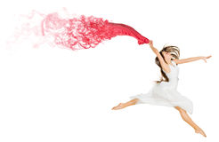 Dancing young girl with red cloth Stock Photo