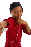 Dancing young man listening to music Royalty Free Stock Photography