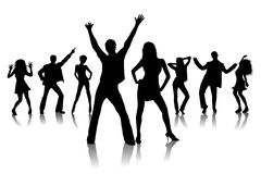Dancing young people Stock Photos