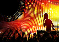 Dancing young people in the nightclub. Festive party in the nightclub with DJ Royalty Free Stock Images