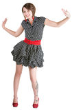 Dancing Woman in Mini Skirt Royalty Free Stock Images