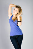 Dancing young woman portrait Stock Images