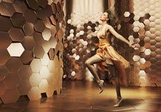 Dancing young woman wearing fabulous dress Stock Photography