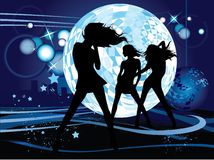 Dancing young women. Vector illustration with dancing young women. Music concept Royalty Free Stock Image