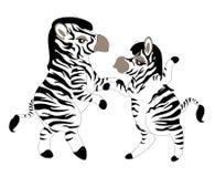 Dancing zebras. A couple of funny cartoon zebras dancing Stock Photography