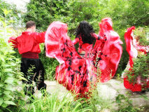 Dancing zingaresco della banda Fotografia Stock
