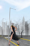 Dancingowa dziewczyna w masce gazowej Obraz Royalty Free