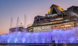 Dancingowa fontanna Przy ICONSIAM buduje Thailand zdjęcie royalty free