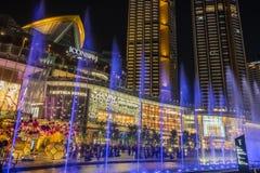 Dancingowa fontanna Przy ICONSIAM buduje Thailand zdjęcia royalty free