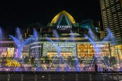 Dancingowa fontanna Przy ICONSIAM buduje Thailand fotografia royalty free