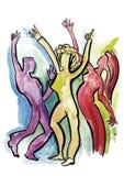 Dancingowa grupa w abstrakta stylu ilustracji