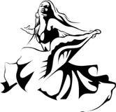 Dancingowa kobieta - czarna kontur ilustracja Obrazy Royalty Free