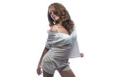 Dancingowa kobieta z nagiej postaci ramieniem Zdjęcia Stock