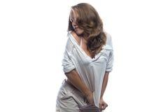 Dancingowa młoda kobieta z nagiej postaci ramieniem Zdjęcia Royalty Free