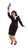 Dancingowa starsza biznesowa kobieta z pastylka komputerem obrazy royalty free