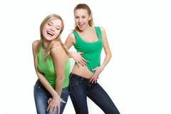dancingowe dziewczyny szczęśliwi dwa Obraz Stock