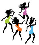 Dancingowej dziewczyny sylwetki Zdjęcie Stock