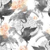 Dancingowi Japońscy żurawie ilustracja wektor