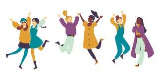Dancingowi ludzie, ?e?skich tancerzy Azjatyckie dziewczyny ma zabaw? Młodych kobiet cieszyć się prywatka royalty ilustracja