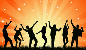 Dancingowi ludzie sylwetek Obrazy Royalty Free