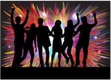 Dancingowi ludzie sylwetek royalty ilustracja