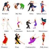 Dancingowi ludzie, tancerz Bachata, Hiphop, salsa, indianin, balet, pasek, rock and roll, przerwa, Flamenco, tango ilustracja wektor