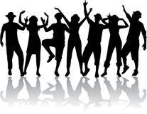 Dancingowi ludzie w kapeluszach ilustracji
