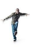 Dancingowi mężczyzna na białym pracownianym tle Zdjęcia Stock