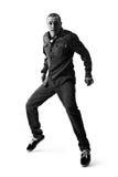 Dancingowi mężczyzna na białym pracownianym tle Obrazy Royalty Free