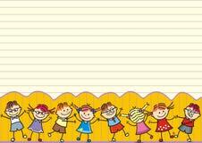Dancingowi szczęśliwi dzieciaki, pocztówka, śmieszna ilustracja royalty ilustracja