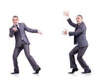 Dancingowy biznesmen odizolowywający na bielu Obraz Stock