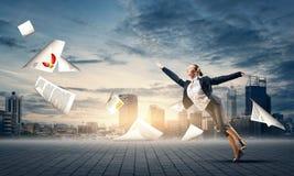 Dancingowy bizneswoman Zdjęcie Stock