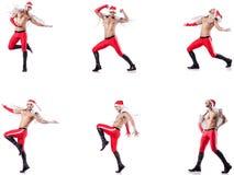 Dancingowy nagi Santa odizolowywający na bielu zdjęcia stock