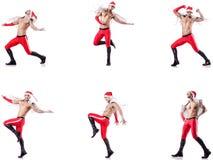 Dancingowy nagi Santa odizolowywający na bielu fotografia royalty free