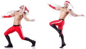 Dancingowy nagi Santa odizolowywający na bielu fotografia stock
