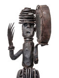 Dancingowy szaman z tambourine, afrykanin żelazna figurka Obrazy Stock