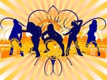 dancingowych hip hop silhouet dziewczyn. Zdjęcia Royalty Free