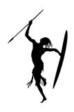Dancyng warrior Zulu silhouette Stock Images